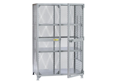 "Metal Mesh Two Adjustable Shelves Storage Locker - 78""H x 61""W"