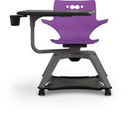 Soft Caster Tablet Chair with Arms and Cup Holder