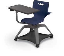 Hard Caster Tablet Chair with Arms