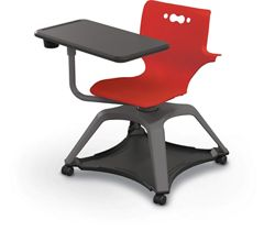 Soft Caster Tablet Chair with Arms