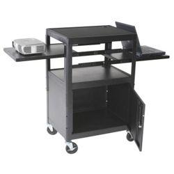 AV Cart with Cabinet and Dual Sliding Shelves