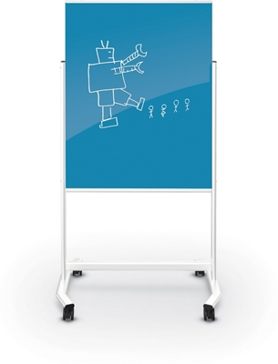 Mobile Colored Magnetic Glass Board 3'H x 4'W