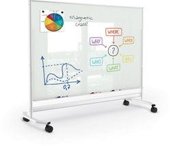 Mobile Magnetic Glass Board 4'H x 6'W