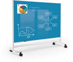 Mobile Colored Magnetic Glass Board 4'H x 6'W