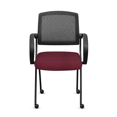 Nex Fabric Nesting Chairs with Arms and Mesh Back - Set of Four