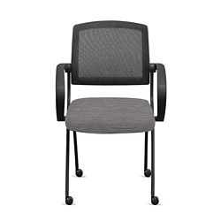 Nex Fabric Nesting Chairs with Arms and Mesh Back - Set of Six