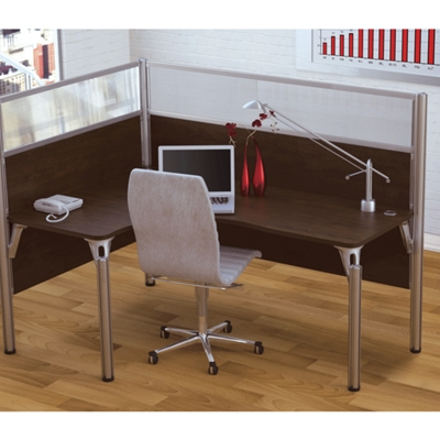 "Left L-Desk with Two 55.5""H Acrylic Privacy Panels"
