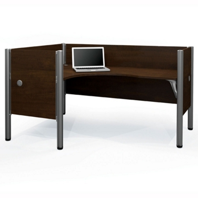 "Left L-Desk with Four 43""H Privacy Panels"