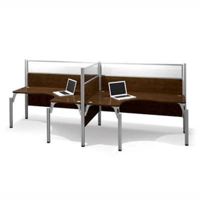 "Two Person Side-by-Side L-Desk Station with Three 55.5""H Acrylic Panels"