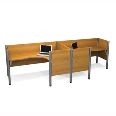 "Two Person Side-by-Side L-Desk Station with Seven 43""H Privacy Panels"