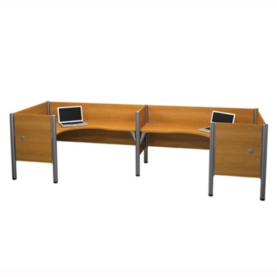 "Two Person Back-to-Back L-Desk Workstation with Seven 43""H Privacy Dividers"
