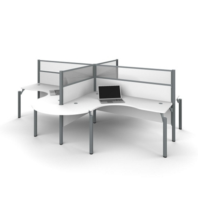 "Four Rounded L-Desks with 55.5""H Panels"