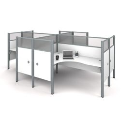"Four Person L-Shaped Workstation with 12 55.5""H Acrylic Privacy Panels"