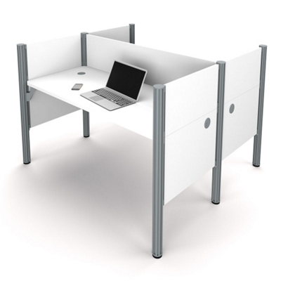 """Double Face-to-Face Workstation with Five 43""""H Privacy Panels"""