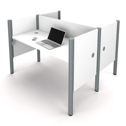 "Double Face-to-Face Workstation with Five 43""H Privacy Panels"