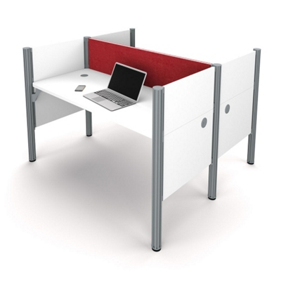 """Double Workstation with 43""""H Tack Board Panels"""
