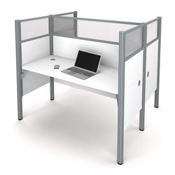 "Double Face-to-Face Workstation with Five 55.5""H Acrylic Privacy Panels"