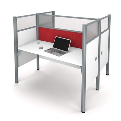 """Double Workstation with 55.5""""H Tack Board Panels"""