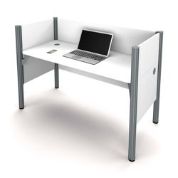 "Single Workstation with Three 43""H Privacy Panels"