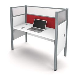 "Single Workstation with 55.5""H Tack Board Panel"