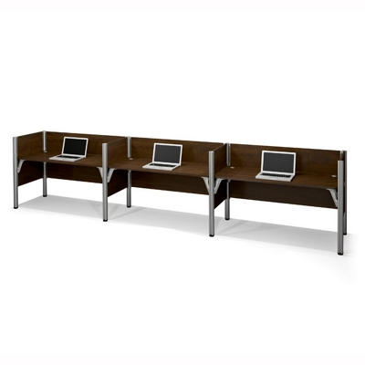 """Triple Workstation with Seven 43""""H Privacy Panels"""