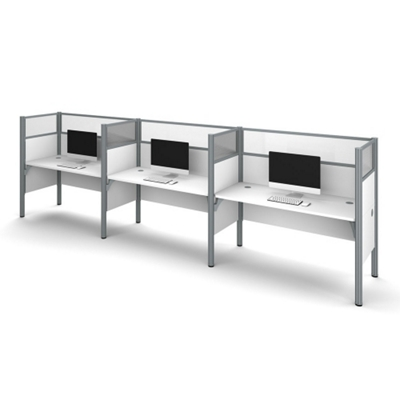 """Triple Workstation with Seven 55.5""""H Acrylic Privacy Panels"""