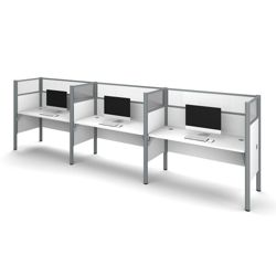 "Triple Workstation with Seven 55.5""H Acrylic Privacy Panels"