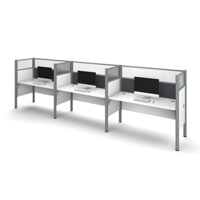 "Triple Workstation with 55.5""H Tack Board Panels"
