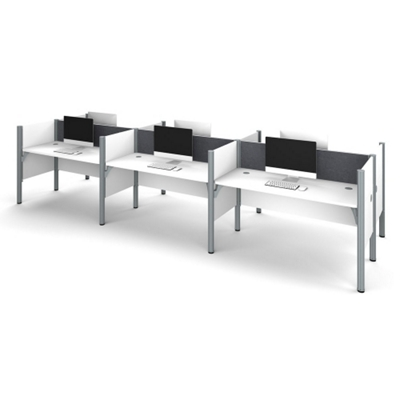 """Six Person Workstation with 43""""H Tack Board Panels"""