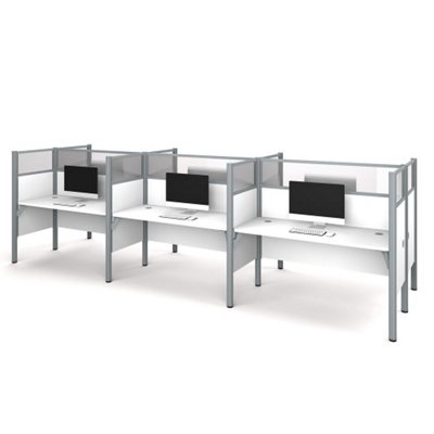 "Six Person Workstation with 11 55.5""H Acrylic Privacy Panels"