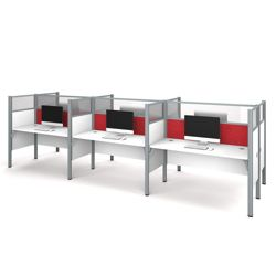 "Six Person Workstation with 55.5""H Tack Board Panels"