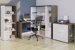 Home Office L-Desk Suite with Bookcase and Lateral File
