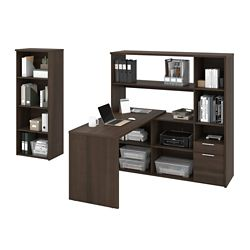 Home Office L-Desk Suite with Bookcase