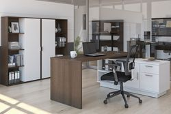 Home Office L-Desk and Two Bookcase Set