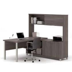"Two Door L-Desk with Hutch - 71.1""W"