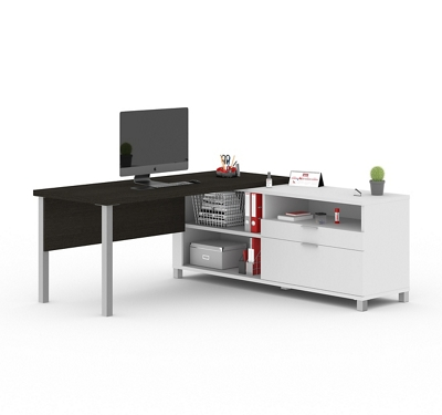 "Pro Linea L-Desk with Drawers - 71.1""W"