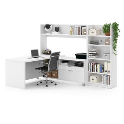 L-Desk with Open Hutch and Bookcase