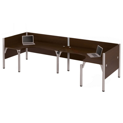 """Double Back-to-Back Open L-Desk Workstation with Four 43""""H Privacy Panels"""