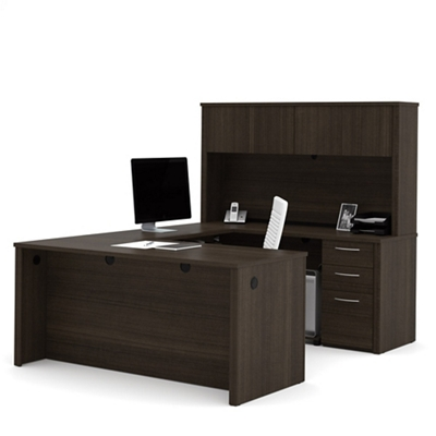 Reversible U-Desk with Hutch