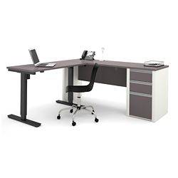 "Reversible L-Desk with Adjustable Height Return - 71.125""W"