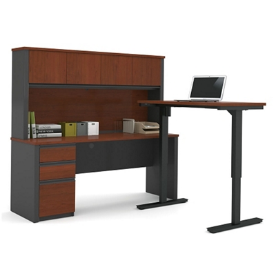 "Reversible L-Desk with Adjustable Height Return and Hutch - 71.125""W"