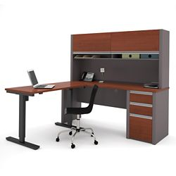 """Reversible L-Desk with Adjustable Height Return and Hutch - 71.125""""W"""