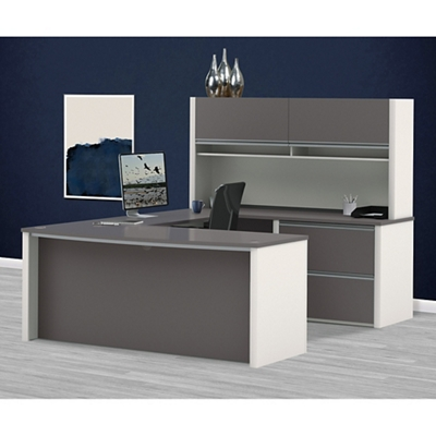 Compact Bowfront U-Desk with Hutch by Bestar Office ...