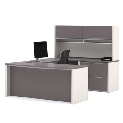Compact Bowfront U Desk With Hutch, 15978