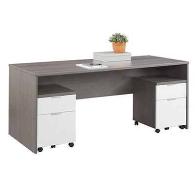 "Boardwalk Executive Desk with Two Mobile Pedestals - 71.1""W"