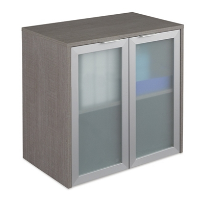 "Boardwalk Hutch with Frosted Glass Doors - 30.1""W"