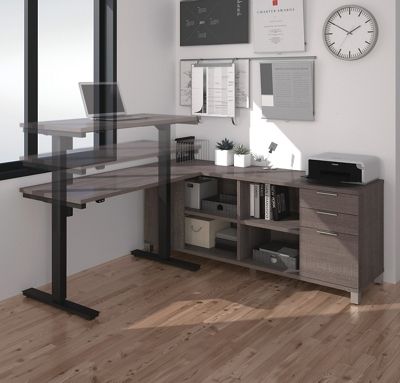 "Adjustable Height L-Desk - 71""W"
