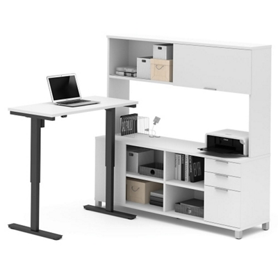 "Adjustable Height L-Desk with Hutch - 71""W"