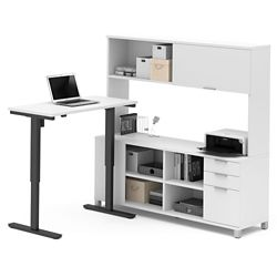 """Adjustable Height L-Desk with Hutch - 71""""W"""