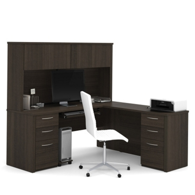 Reversible Executive L-Desk with Hutch